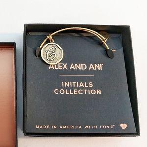 "Alex and Ani Gold Initial ""C"" Charm Bracelet NIB"